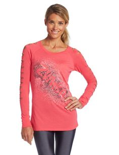 Zumba Fitness Womens AirGlow Slashed Sleeve Top Cosmo XLarge * Check this awesome product by going to the link at the image.