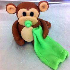 3D Baby Monkey Edible Fondant Cake Topper by EdibleArtbyAce
