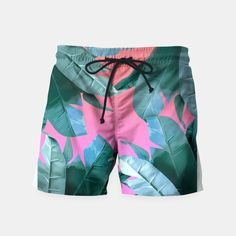 Microfiber Abstract Artificial Cannabis Beach Swimming Trunks Mens Shorts Slim Fit