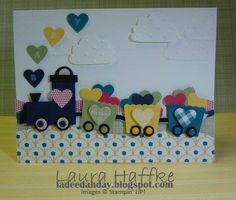 Baby Train Card Stampin' Up! Baby Boy Cards, Baby Shower Cards, Stampin Up Karten, Stampin Up Cards, Punch Art Cards, Kids Birthday Cards, Card Birthday, Cricut Cards, Paper Cards