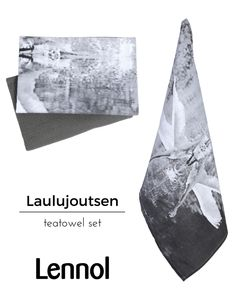 Laulujoutsen is Finnish for Whooping Swan. Form and function come together in this set; practical kitchen towels with a stylish designer look and quality-feel. One towel features a Swan photograph, taken at Seitseminen Nature park, by Finnish designer Seija Ranttila, the other is a plain grey waffle weave, both tea towels are 100% cotton.