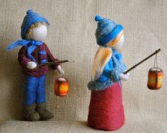 Muñeca fieltro de aguja inspirado Pascua primavera Waldorf:
