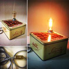 Lightbox. Scatola di latta Restylata si trasforma in un punto luce adatto al tuo arredo vintage.