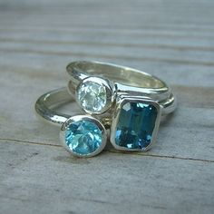 Birthstone. Love the stacking rings look. All different variations of my birthstone. =) $278.00