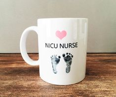 Custom NICU Nurse Coffee Mug Pink Heart and by LynettePerryDesigns