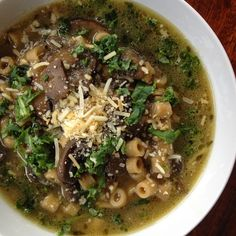 This soup is perfect for this week since it seems most of the East is getting hit with some freezing temperatures.  This is kind of a spin on French Onion Soup only with mushrooms and pasta.  It is he