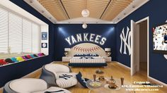 How awesome would it be to a room dedicated to the Yankees!! I envision a room like this was a huge flat screen for watching the Yanks win another World Series!! :)