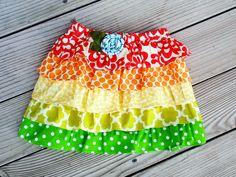 Starburst---Little girl ruffle twirl skirt