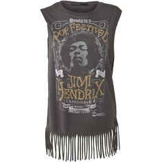 Crafted Jimi Hendrix Tassle Vest Top ($9.16) ❤ liked on Polyvore featuring tops, shirts, tank tops, band tees, sport shirt, crew shirt, graphic tanks, fringe vests and crew-neck shirts