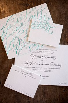 teal calligraphy letterpress invitation suite