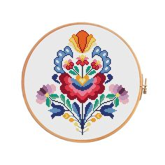 Summer wycinanki flowers cross stitch pattern modern cross