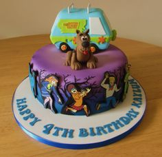 Scooby Doo cake with mystery van.  Airbrushed blue and purple.