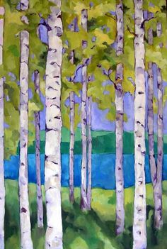 artist beth munro -- really like the depth of the background and the softness of the leaves. Landscape Quilts, Landscape Art, Landscape Paintings, Landscapes, Tree Paintings, Watercolor Trees, Watercolor Paintings, Watercolors, Birch Tree Art