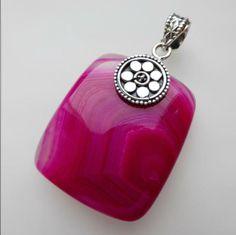Sterling silver pink bostwana agate pendant