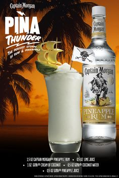 You bring the pineapple, I'll bring the Thunder. Take Piña Colada recipes to the next level with my Captain Morgan Pineapple Rum. #SunsOutRumsOut Liquor Drinks, Cocktail Drinks, Alcoholic Drinks, Bourbon Drinks, Craft Cocktails, Pineapple Smoothie Recipes, Pineapple Rum, Alcohol Drink Recipes, Summer Drinks