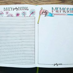 "NEW Bullet Journal Setup - July 2017 Daily Doing & Monthly Memories  These two pages end up being some of my favorites each month once they are filled in. I write a few lines in my Daily Doing to really live up to the ""journal"" aspect of Bullet Journaling. It's a nice snapshot of what happened that month...on just one page! My Monthly Memories gets filled with little doodles of highlights from the month, and I LOVE it all completed!"