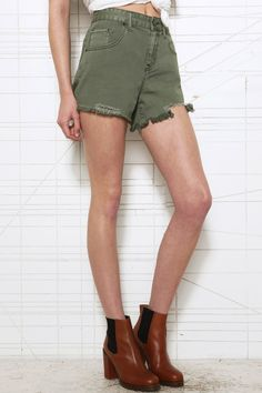 BDG Khaki Mid Rise Shorts at Urban Outfitters