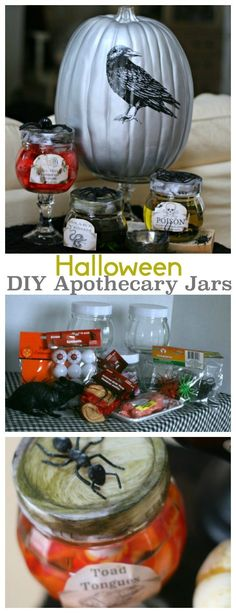 DIY Halloween Apothecary Jars | Make easy Halloween decorations with this…