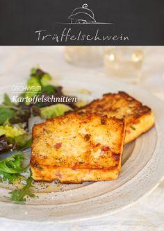 Raffinierte Resteverwertung für Gschwellti: Kartoffelschnitten mit Ricotta und Schinken.