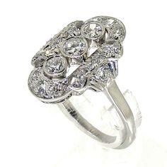 Witgouden Art Déco prinsessen ring bezet met diamanten, totaal een geschat gewicht van 1.30ct, met in het midden drie grotere briljant geslepen diamanten, de middensteen is ca. 0.20 ct, de steen onder en boven zijn 0.15ct. - SpiegelgrachtJuweliers.com   ringen   zilveren ring   silver rings jewelry   vintage rings   trouw ringen zilver   verlovingsring zilver   sieraden amsterdam #spiegelgrachtjuweliers #ring #rings Vintage Silver Rings, Vintage Jewelry, Silver Engagement Rings, Luxury Watches, Boho Wedding, Art Deco, Jewels, Collection, Antiques