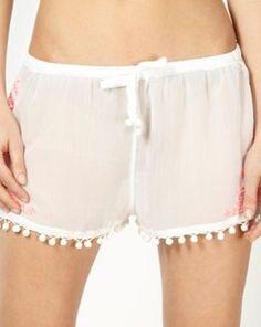 Designer White Embroidered Pom Pom Shorts, Debenhams