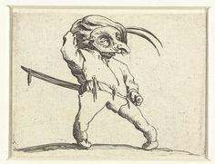 Jacques Callot | Dwerg met zwaard en masker, Jacques Callot, 1621 - 1625 | Dwerg, van voren gezien, een muts met twee veren op het hoofd, een masker voor het gezicht, de linkerhand aan het gevest van zijn zwaard. Deze prent is onderdeel van een serie van 21 prenten met groteske figuren; vrijwel al die figuren zijn dwergen, velen zijn gebocheld.