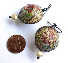 Small hollow vintage tin earrings by pipnmolly on Etsy, $42.00