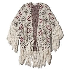 Abercrombie & Fitch Kaela Fringe Kimono ($24) ❤ liked on Polyvore featuring outerwear, jackets, tops, kimono, cream pattern, cream kimono, cotton kimono, abercrombie fitch jacket, fringe kimono and cotton jacket