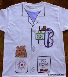 "Wouldn't all kids love a mock lab coat, a.k.a. ""Science Tuxedo"" to customize?  It comes with the collar, 3 pockets (top pocket has tools) and 3 buttons.  It's completed with clip art of choice and fabric markers.  This design is new and is not on the website yet, but you can still call and order for your class!  Tees $5 -aprons $6! 800-960-9393"