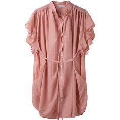 Tsumori Chisato Ruffled Button Down Dress. (13,160 DOP) ❤ liked on Polyvore featuring dresses, tops, shirts, blouses, women, cotton dress, short dresses, shirt dress, long shirt dress and red dress