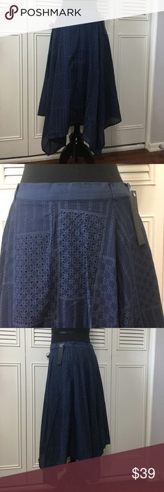 "Anthropologie Skirt NWT Adorable Anthropologie Cirana 100% cotton lace eyehole patterned navy blue high low sides (back and front) skirt. Waist line is solid with 1"" Belt loops, side zip closure, skirt is lined half way. Style 984 Anthropologie Skirts Asymmetrical"