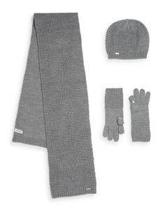 CALVIN KLEIN Waffle-Knit Three-Piece Scarf Set. #calvinklein #set