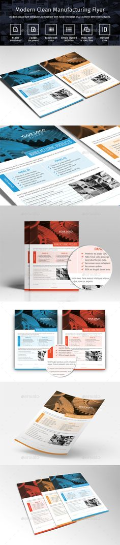 Modern Clean Manufacturing Flyer Template PSD #design Download: http://graphicriver.net/item/modern-clean-manufacturing-flyer-updated/12800346?ref=ksioks