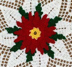 Free Crochet Christmas Doily Patterns | Crochet Christmas Floral Doily Patterns - Poinsettia Christmas Doily ...