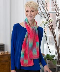 Gradient Strip Scarf Crochet Pattern | Red Heart, do you go to Red Heart (dot) com to get free patterns.  They often have very nice ones and tell you what is needed to complete the project.