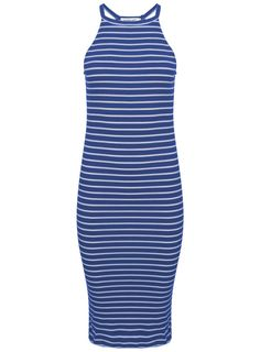 Womens Summer Striped Evening Party Long Maxi Beach Dress Cotton Vest Dress UK
