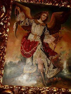 El Arcangel Medico, curo a San Pedro de la ceguera, cerca de un río.  Oleo y brocateao en alto relieve. Preciosa Replica