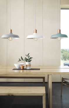Croft 1 light metal pendant in ash, white and mint with brushed copper detail.