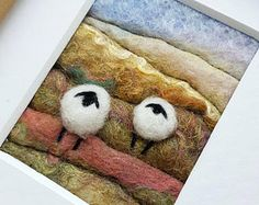 Miniature sheep landscape picture - original fiber art in felting and embroidery