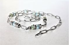 Aquamarine and sterling silver chain and link necklace