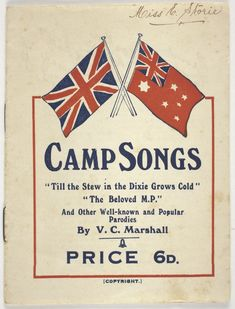 Booklet - V. Australian People, Australian Flags, Camp Songs, Diary Writing, Booklet, Melbourne, Commonwealth, Red, Camping Songs