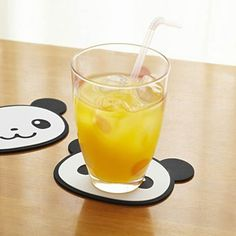 kawaii panda bear silicone coaster set 2pcs from Japan