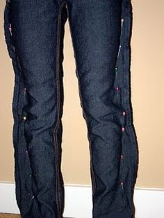 DIY skinny jeans or take in after loosing weight. Put on wrong side out before pinning.