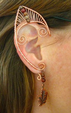 Pair of Copper Woven Wire Elf Ear Cuffs with Red by jhammerberg