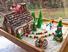 Alisha & Roberto Gingerbread Winter Log Cottage