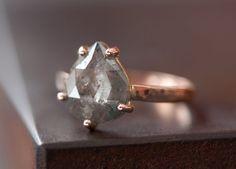 Prong-Set Rose Cut Natural Diamond Ring