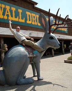 Discover Wall Drug in Wall, South Dakota: The granddaddy of all tourist traps, built on ice water and jackalopes. South Dakota Vacation, South Dakota Travel, North Dakota, Wall Drug, Giant Dinosaur, Roadside Attractions, Roadside Signs, Tourist Trap, Places Of Interest
