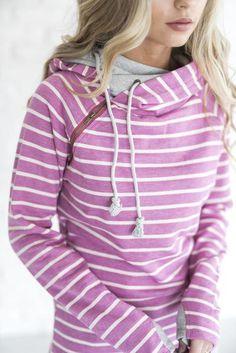 DoubleHood™ Sweatshirt - Magenta Stripe - Mindy Mae's Market