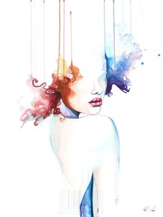 Love is Blind - contemporary watercolor portrait art by defectivebarbie