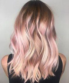 Картинки по запросу балаяж на русые волосы розовое золото